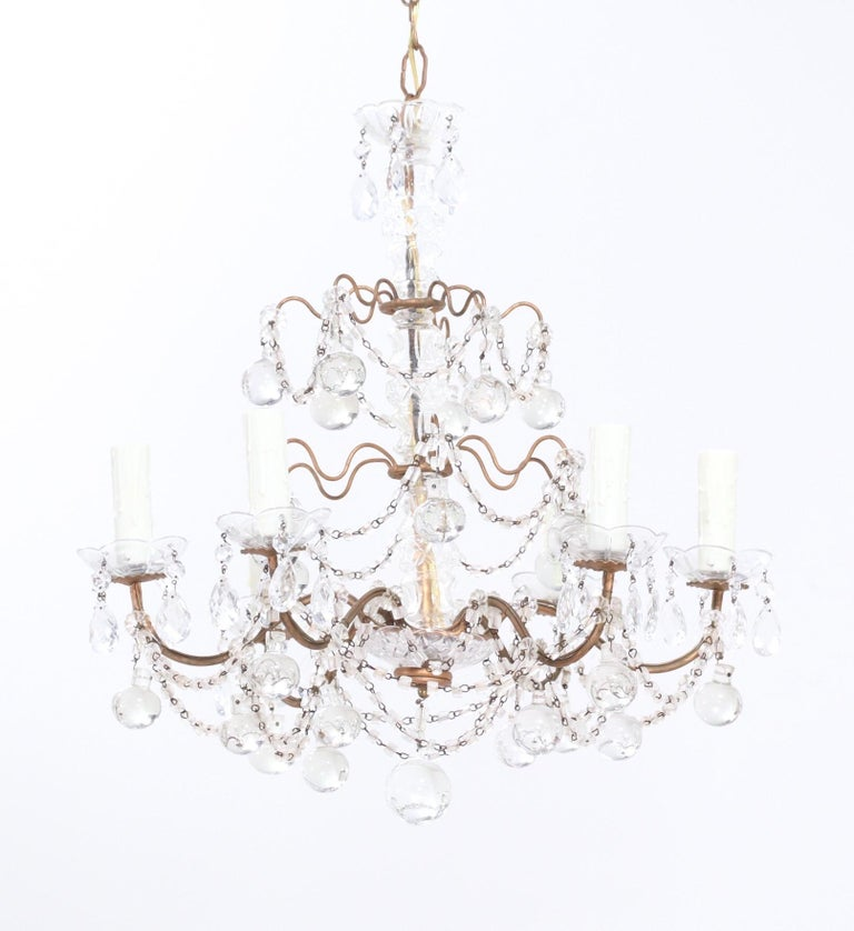 Louis XVI Italian Crystal Beaded Chandelier with Glass Ball Drops For Sale