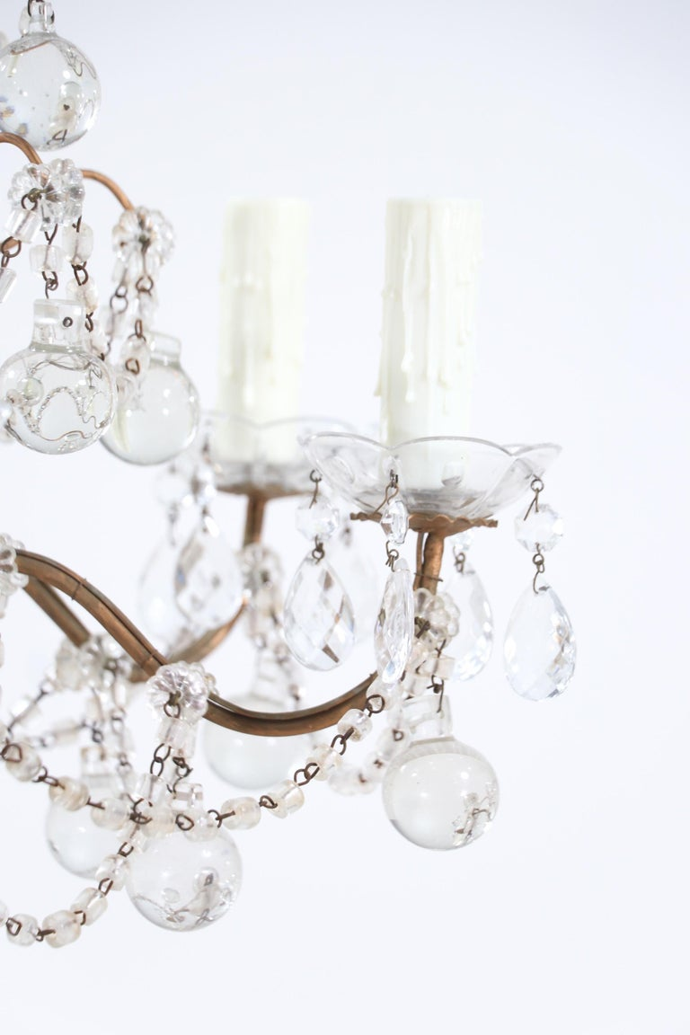 Mid-20th Century Italian Crystal Beaded Chandelier with Glass Ball Drops For Sale