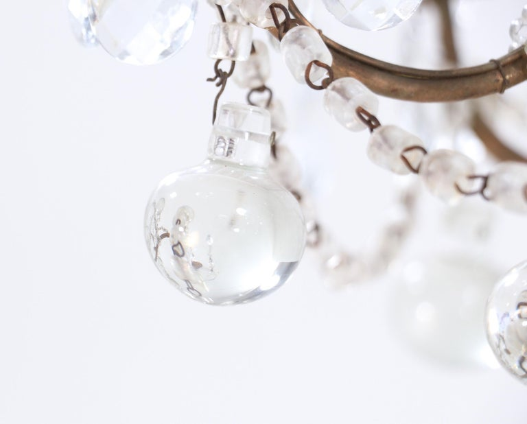 Italian Crystal Beaded Chandelier with Glass Ball Drops For Sale 1