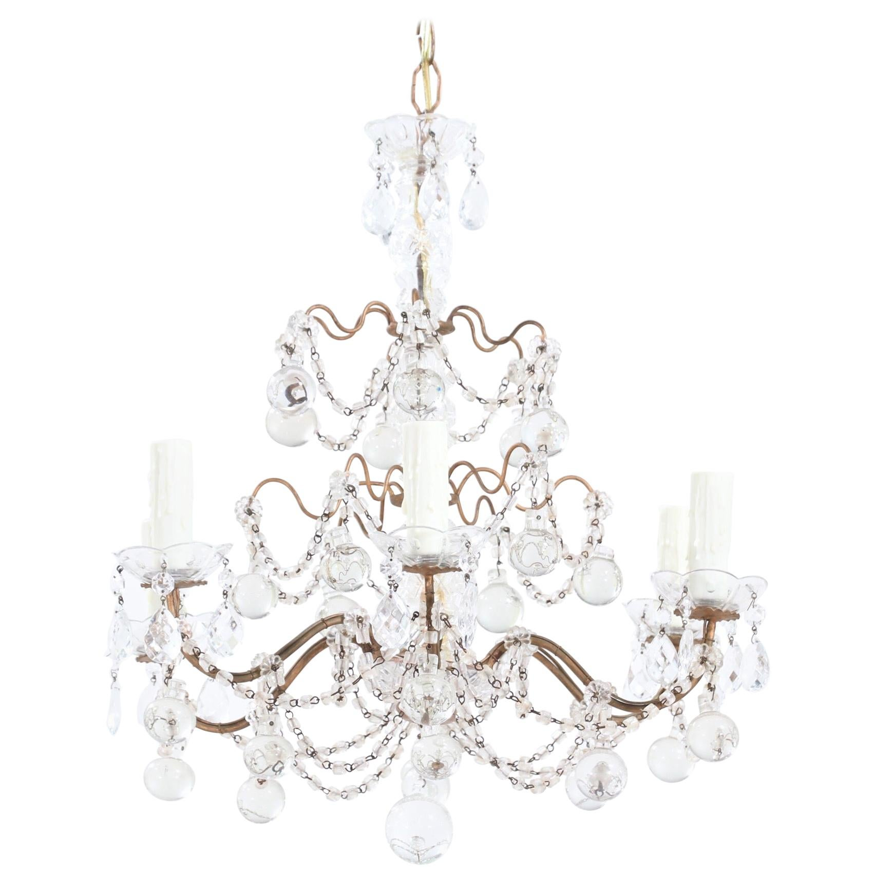 Italian Crystal Beaded Chandelier with Glass Ball Drops