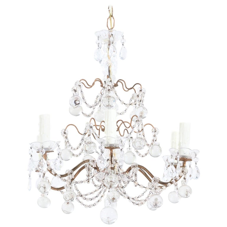 Italian Crystal Beaded Chandelier with Glass Ball Drops For Sale