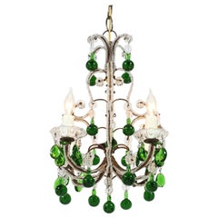 Italian Crystal Beaded Chandelier with Green Drops