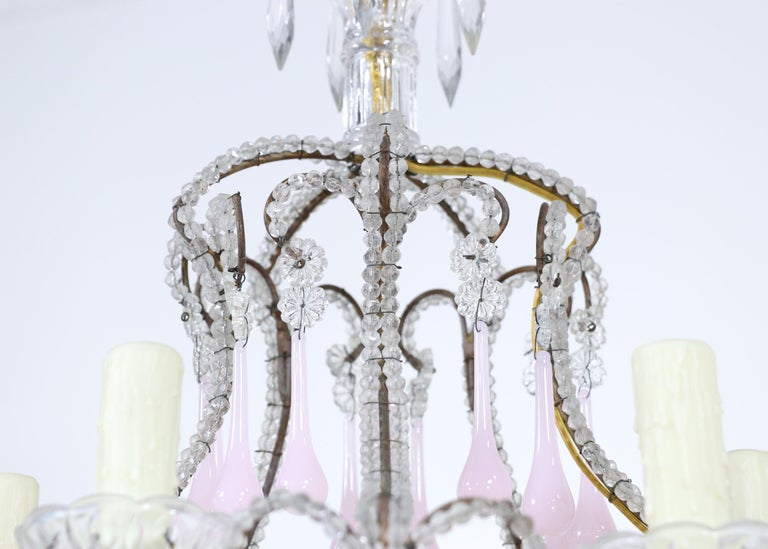 Mid-20th Century Italian Crystal Beaded Pink Opaline Chandelier For Sale