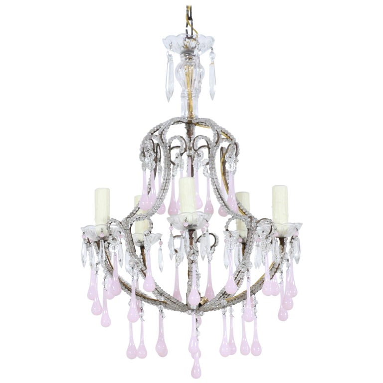 Italian Crystal Beaded Pink Opaline Chandelier For Sale