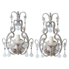 Italian Crystal Beaded Sconces with Opaline Drops