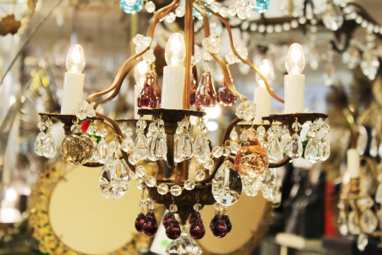 Italian Crystal & Brass Diminutive Chandelier With Multi-Colored Fruit Pendants For Sale 5