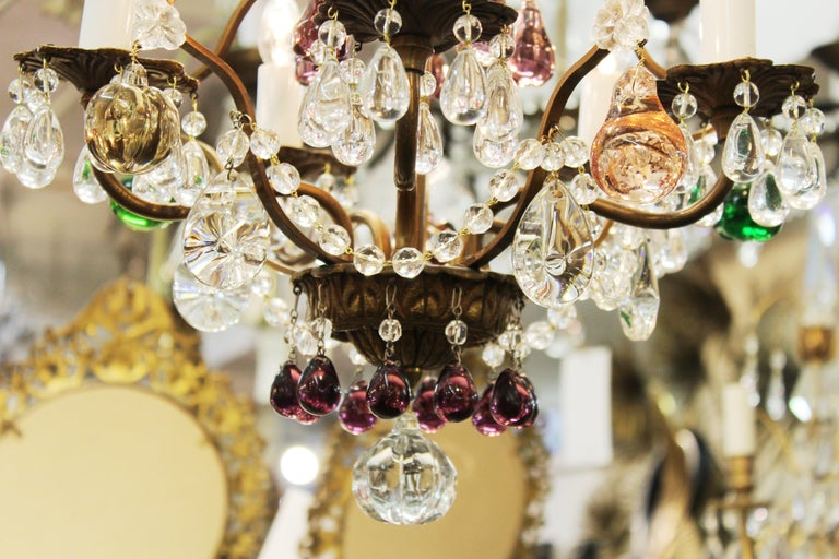 Italian Crystal & Brass Diminutive Chandelier With Multi-Colored Fruit Pendants For Sale 6