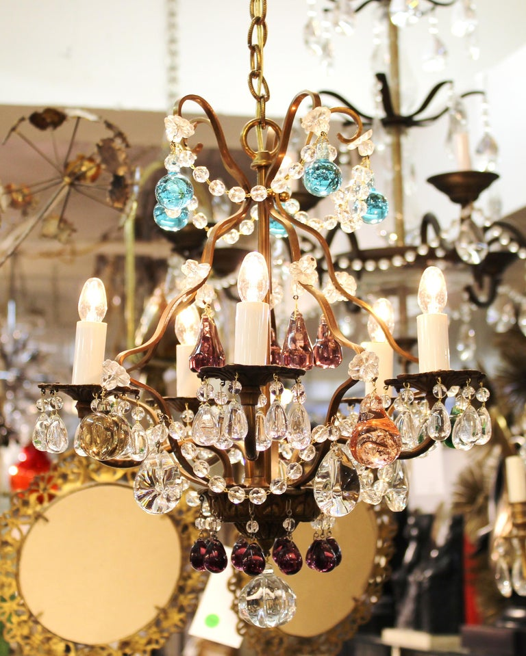 Italian Mid-Century Modern crystal and brass diminutive chandelier with Italian crystals and multi-colored glass fruit, made in Italy during the 1950's. Rewired and restored, unsigned.