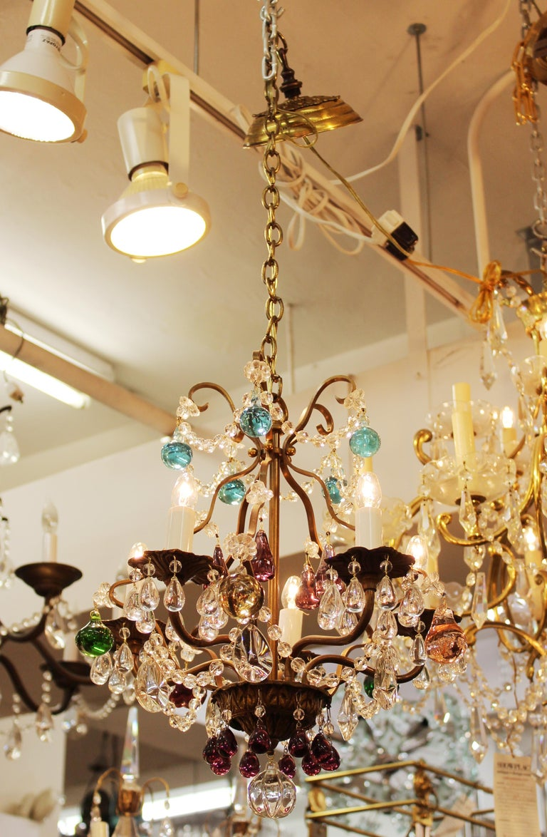 Hollywood Regency Italian Crystal & Brass Diminutive Chandelier With Multi-Colored Fruit Pendants For Sale