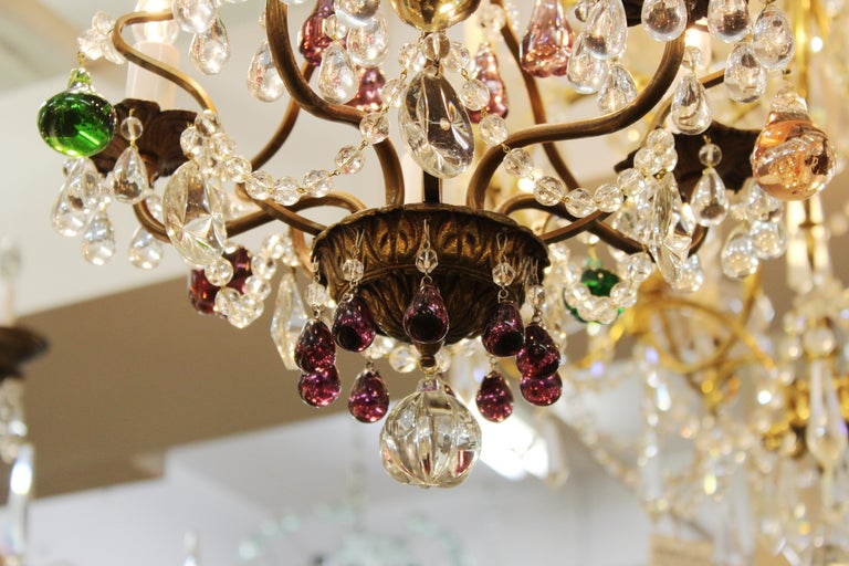 Italian Crystal & Brass Diminutive Chandelier With Multi-Colored Fruit Pendants In Good Condition For Sale In New York, NY