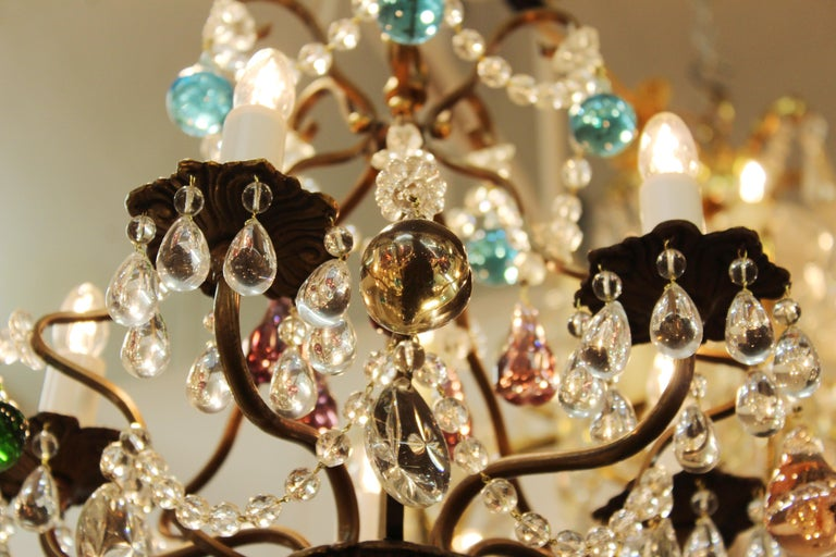 Mid-20th Century Italian Crystal & Brass Diminutive Chandelier With Multi-Colored Fruit Pendants For Sale