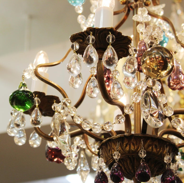 Italian Crystal & Brass Diminutive Chandelier With Multi-Colored Fruit Pendants For Sale 1