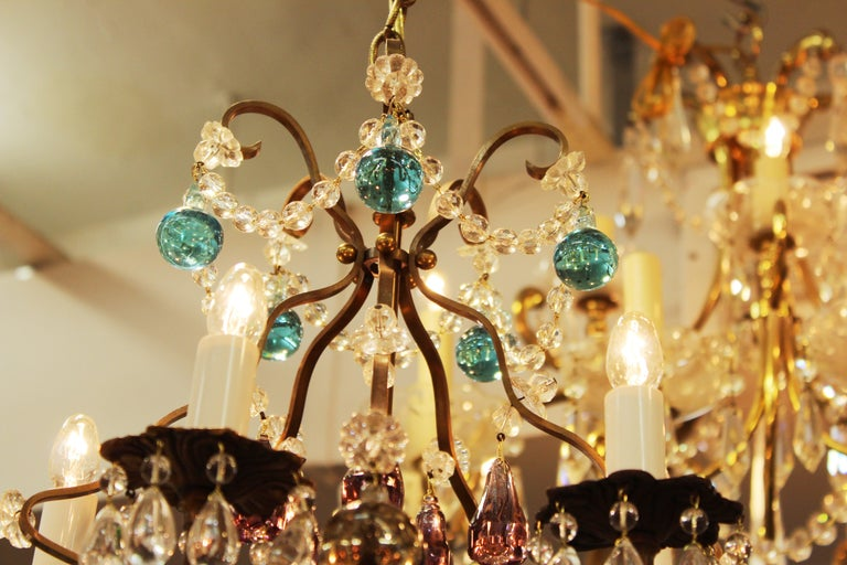 Italian Crystal & Brass Diminutive Chandelier With Multi-Colored Fruit Pendants For Sale 2