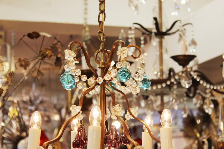 Italian Crystal & Brass Diminutive Chandelier With Multi-Colored Fruit Pendants For Sale 4