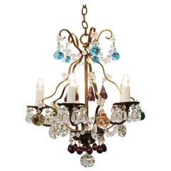 Italian Crystal & Brass Diminutive Chandelier With Multi-Colored Fruit Pendants