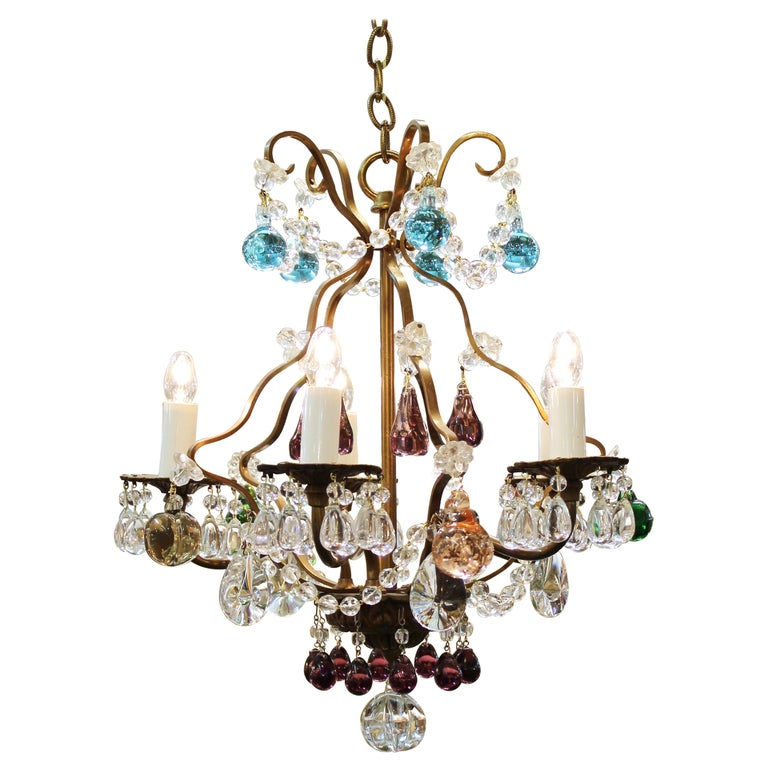 Italian Crystal & Brass Diminutive Chandelier With Multi-Colored Fruit Pendants For Sale