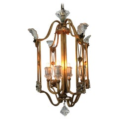 Italian Crystal Chandelier Gilt Iron Cage Four-Light Lantern Banci Firenze, 1980