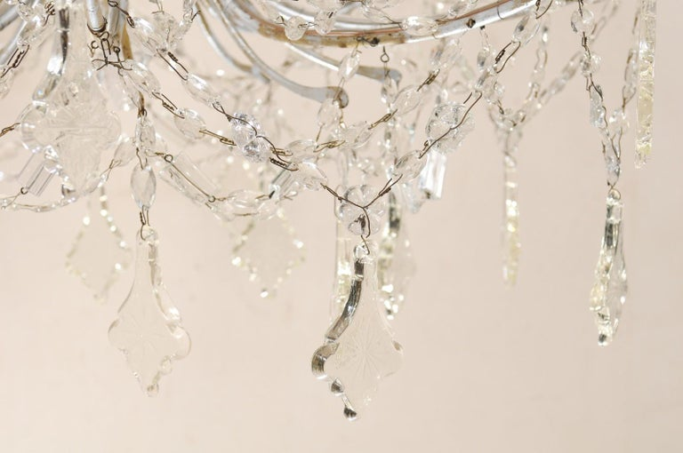Italian Crystal Eight-Light Chandelier from the Mid-20th Century For Sale 5