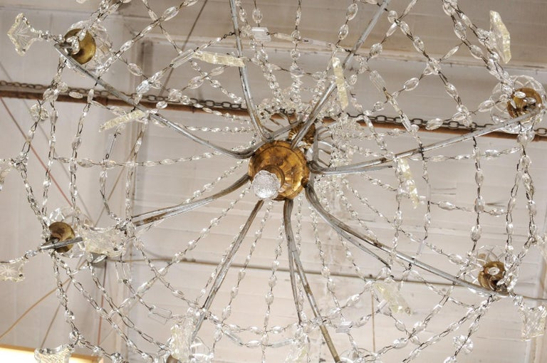Italian Crystal Eight-Light Chandelier from the Mid-20th Century For Sale 6