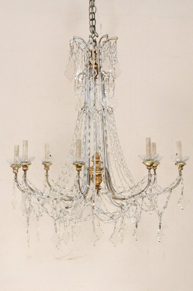 Beaded Italian Crystal Eight-Light Chandelier from the Mid-20th Century For Sale