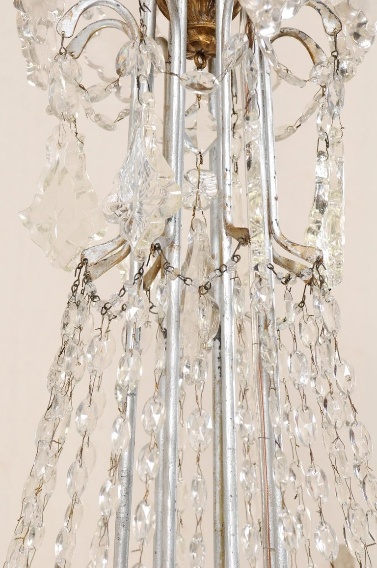 Italian Crystal Eight-Light Chandelier from the Mid-20th Century In Good Condition For Sale In Atlanta, GA