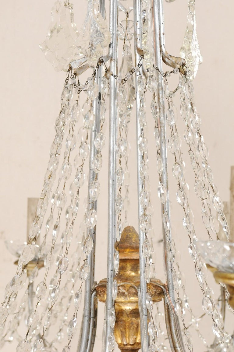 Metal Italian Crystal Eight-Light Chandelier from the Mid-20th Century For Sale