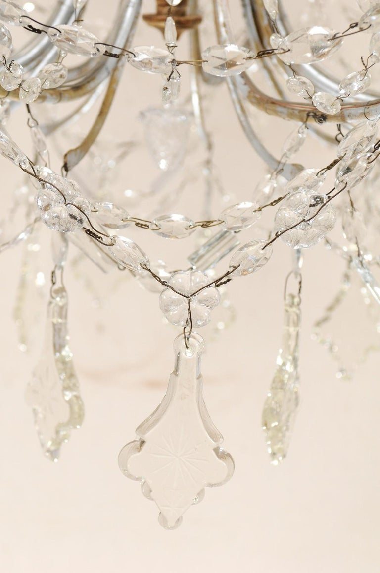 Italian Crystal Eight-Light Chandelier from the Mid-20th Century For Sale 2