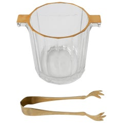 Italian Crystal Ice Bucket or Wine Cooler with Gold Design