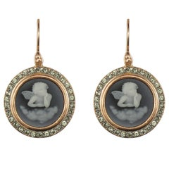Italian Crystal Pearl Rose Vermeil Drop Earrings