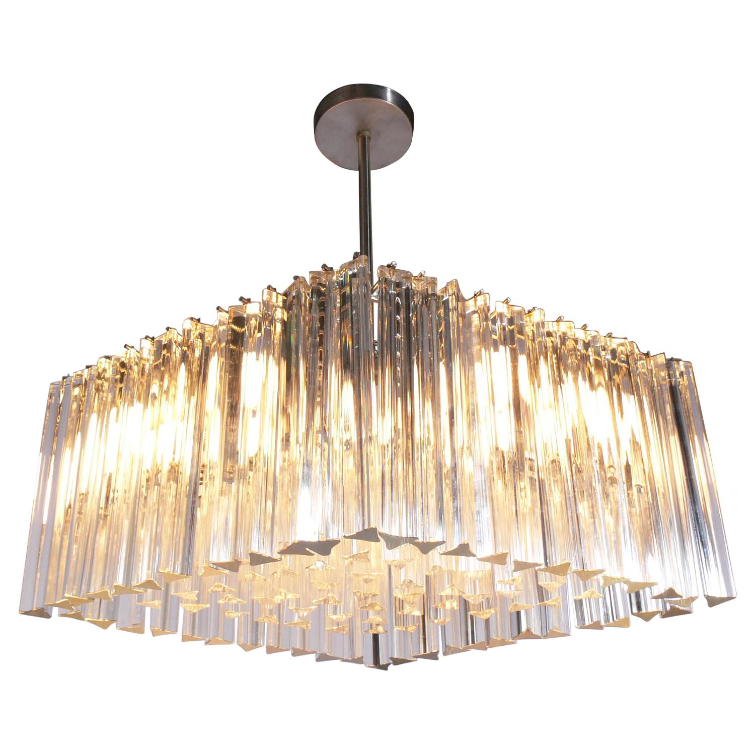 Italian Crystal Prisms Chandelier by Camer