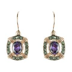 Italian Crystal Vermeil Antique Style Earrings