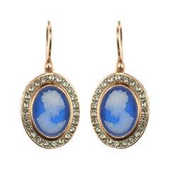 Italian Crystal Women Cameo Vermeil Drop Earrings