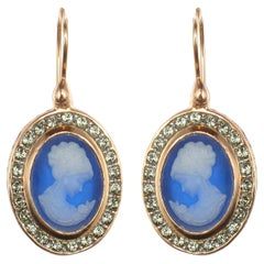 Italian Crystal Women Cameo Vermeil Drop Earrings
