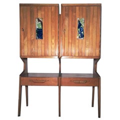 Italian Cupboard Attributed to Ico Parisi Blonde Oak Wood and Majolica Tiles