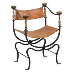 Italian Curule Savonarola Iron & Embossed Leather Chair, Early 20th C