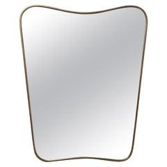 Italian Curved Brass Mirror, 1950s
