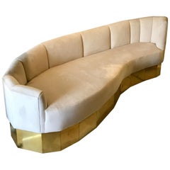 Italian Curved Cream Velvet and Brass Sofa