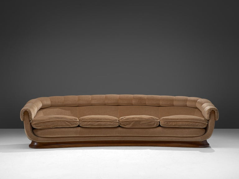 Italian four-seat sofa, fabric and wood, Italy, 1950s