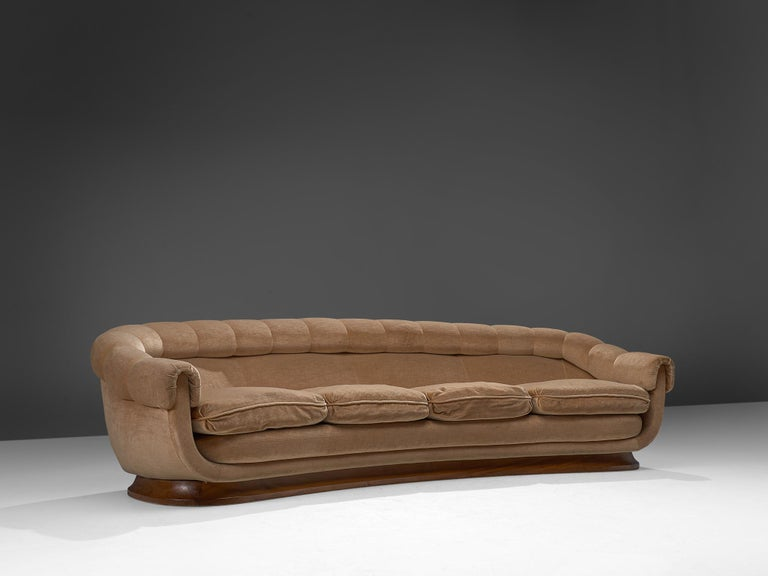 Mid-Century Modern Italian Curved Four-Seat Sofa in Light Camel Velours, 1950s For Sale