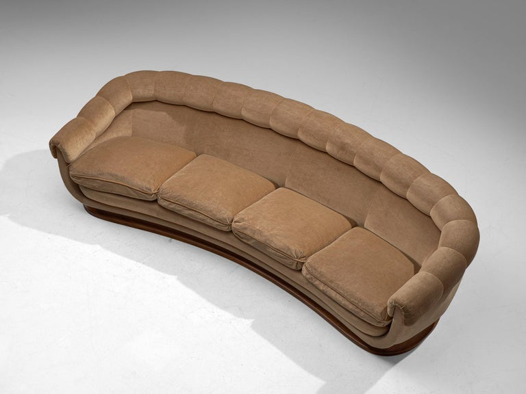 Italian Curved Four-Seat Sofa in Light Camel Velours, 1950s For Sale 2