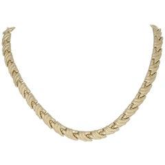Italian Curved Link Necklace, 14 Karat Yellow Gold Matte Texture Women's