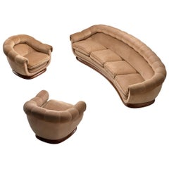 Italian Curved Living Room Set in Light Camel Velours, 1950s