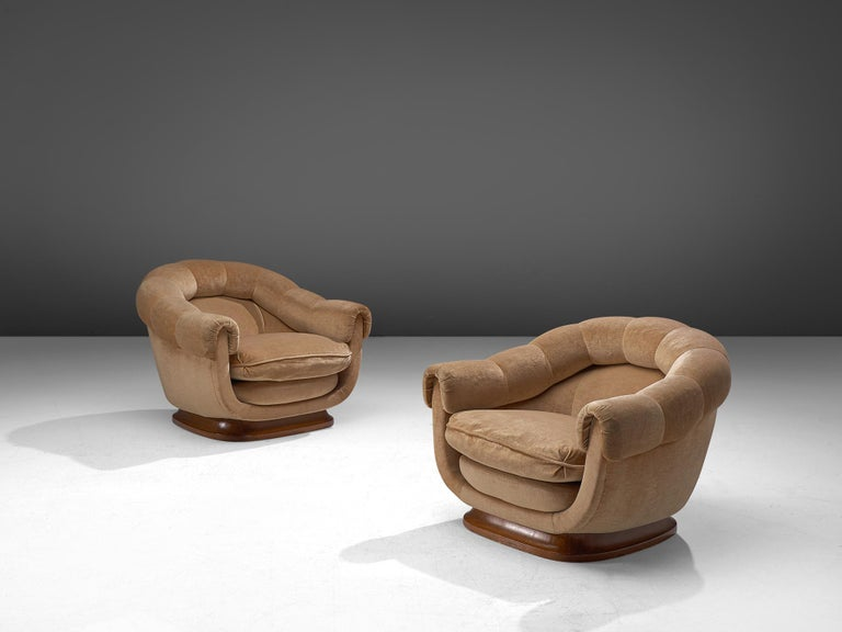 Italian pair of lounge chairs, fabric and wood, Italy, 1950s