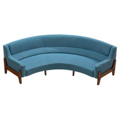 Italian Curved Sofa in Rosewood and Sky Blue Upholstery