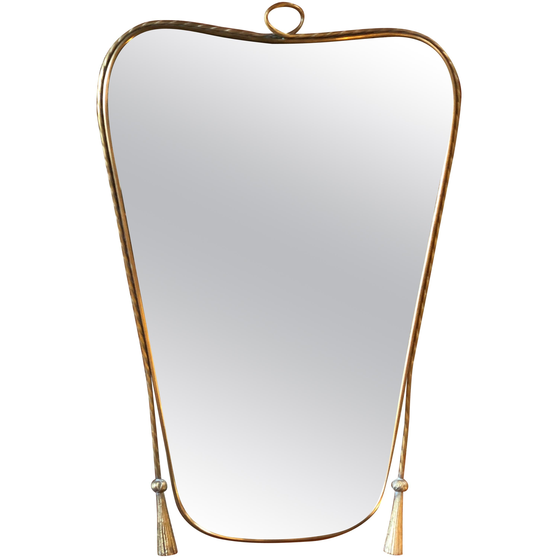 Italian Curvilinear Brass Mirror, 1950s