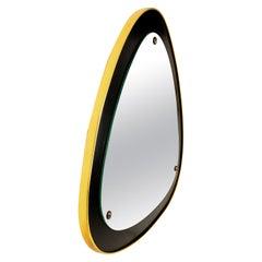 Italian Curvilinear Triangle Mirror in Brass and Ebonized Wood, 1950s, Italy