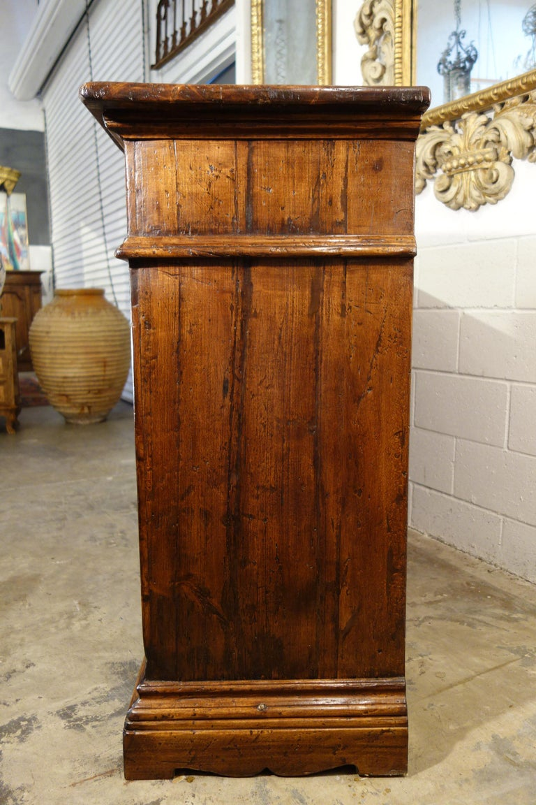 17th Century Style Italian Rustic 2 Door Old Poplar Credenza with 2 Drawers For Sale 6