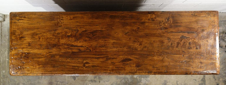 17th Century Style Italian Rustic 2 Door Old Poplar Credenza with 2 Drawers For Sale 7