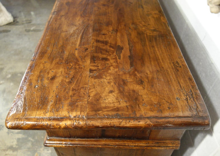 17th Century Style Italian Rustic 2 Door Old Poplar Credenza with 2 Drawers For Sale 8