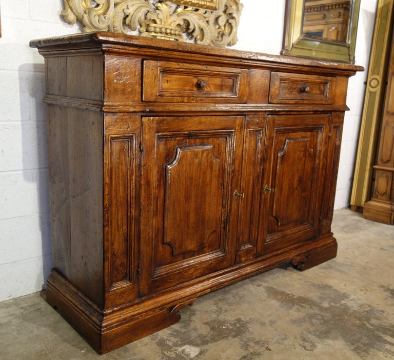Baroque 17th Century Style Italian Rustic 2 Door Old Poplar Credenza with 2 Drawers For Sale